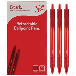STAT BALLPOINT PEN RETRACTABLE 1.0Mm Red