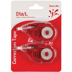 STAT CORRECTION TAPE 5MMX8M Clear Pack Of 2