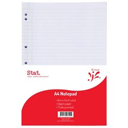 STAT NOTEPAD A4 7MM RULED 55Gsm White 7 Hole Punched 50 Sheet