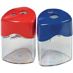 STAT SHARPENER DOUBLE Metal With Canister Assorted