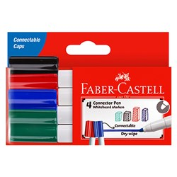 FABER CASTELL W BOARD MARKERS Connector Whiteboard Assorted PK4