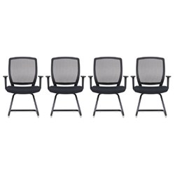 4x RAPIDLINE HARTLEY VISITOR CHAIR WITH ARMS AND MESH BACK BUNDLE