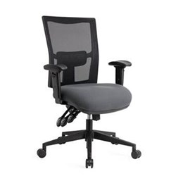DUNN HIGH BACK MESH CHAIR 3 LEVER ERGO WITH ADJ CHAIRS LARGE SEAT CAT 1 FABRICS
