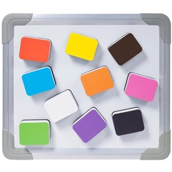 SMALL MAGNETIC WHITEBOARD ERASER 50 X 40MM ASSORT COLOUR