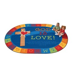 GOD IS LOVE LEARNING OVAL RUG 2.34 X 3.30M