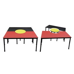 ABORIGINAL FLAG TABLE 1500X1500MM 3 PIECE ADJUSTABLE LEGS