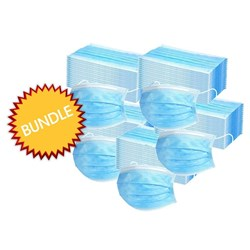 5x BOX 50 TGA  APPROVED DISPOSABLE 3-PLY FACE MASK WITH EAR LOOPS BUNDLE