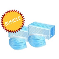 2x BOX 50 TGA APPROVED DISPOSABLE 3-PLY FACE MASKS WITH EAR LOOP BUNDLE