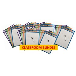 PROTEXT WRITE N WIPE SLEEVES A4 INCLUDES PENS CLASSROOM PACK OF 30