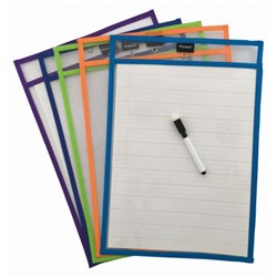 PROTEXT WRITE n WIPE PAPER SAVER SLEEVES A4 Includes Pens PACK 10