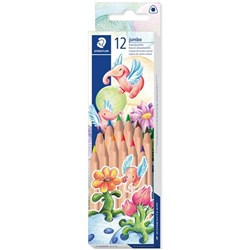 STAEDTLER NATURAL JUMBO TRIANGULAR COLOURED PENCILS Assorted 12