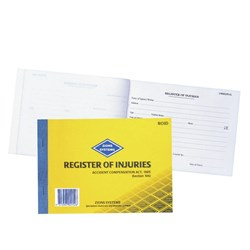ZIONS REGISTER OF INJURY AND FIRST AID TREATMENT WHS BOOK