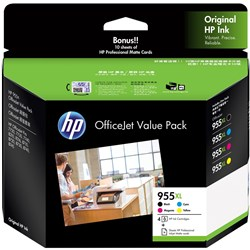 HP INK CARTRIDGE 955XL VALUE PACK + 10 Sheets Black, Cyan, Magenta, Yellow