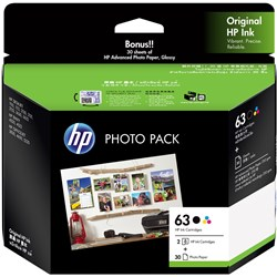 HP INK CARTRIDGE 63 PHOTO VALUE PACK