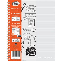 WHITELINES BOOK A5 SOFT COVER Spiral 7mm 120 Page Students