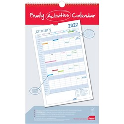 SASCO WALL CALENDAR Family Planning 410X250Mm White/Blue