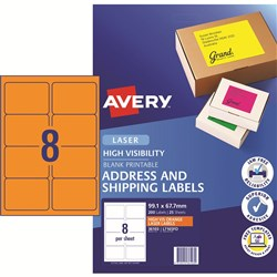 AVERY HI VISIBILITY LABELS Laser 99.1 x 67.7mm Fluoro Orange Pack of 200