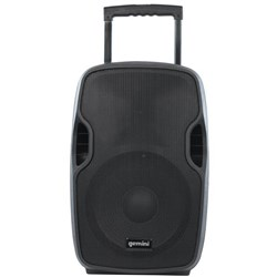 GEMINI PORTABLE PA SPEAKER 12 INCH 1500W WITH MICROPHONE Black