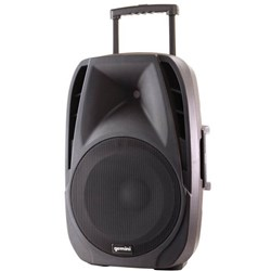 GEMINI PORTABLE PA SPEAKER 12 INCH 600W WITH WIRELESS MICROPHONE Black