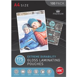 GBC Laminating Pouches A4 175 Micron Pack of 100