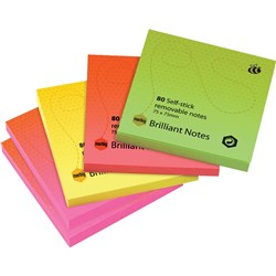 MARBIG BRILLIANT 75X75 NOTES ASSORTED Pack 5