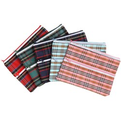 TARTAN PENCIL CASES 2 ZIP GIANT 375x264MM
