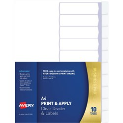 Avery L7410-5 Print & Apply Label Dividers A4 5 Tabs Clear