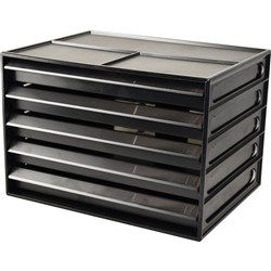ITALPLAST A4 DOCUMENT CABNET Recycled 5 Drawer Blk Clr