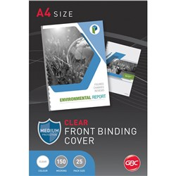 GBC Binding Covers A4 150 Micron Clear Pack of 25