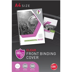 GBC Binding Covers A4 200 Micron Clear Pack of 100