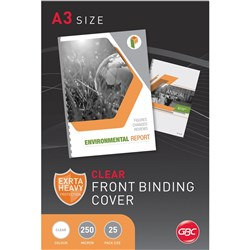 GBC Binding Covers A3 250 Micron Clear Pack of 25