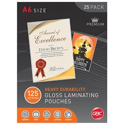 GBC Laminating Pouches A6 125 Micron Pack of 25
