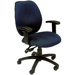 SABINA TYPIST CHAIR M/B & ARMS Blue Fabric