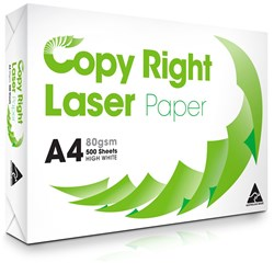 COPY RIGHT LASER PAPER A4 White Copy Paper 80gsm Available in 5 Ream Cartons
