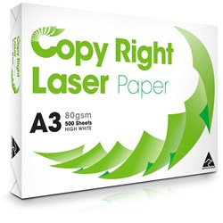 COPY RIGHT LASER PAPER A3 White Copy Paper 80gsm Available in 3 Ream Cartons