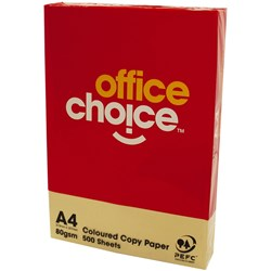 OFFICE CHOICE TINTS COPY PAPER A4 80gsm Yellow Ream of 500