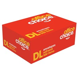 OFFICE CHOICE DL ENVELOPES 110x220 Selfseal Secretive 80g Box 500
