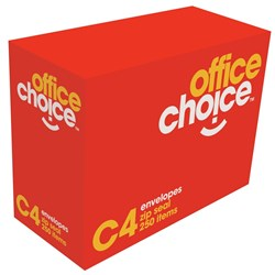 OFFICE CHOICE ENVELOPES STRIP SEAL C4 WHITE 324x229mm Box 250