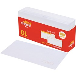 OFFICE CHOICE DL ENVELOPES 110x220mm Strip Seal Secretive PLAIN Pack 100