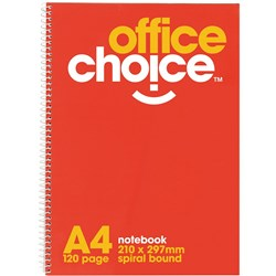 OFFICE CHOICE SPIRAL NOTEBOOK A4 210X297MM 120 PAGE SB