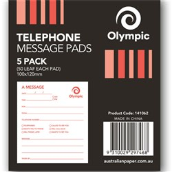 OLYMPIC TELEPHONE MESSAGE PADS 100x120m 50 Leaf Pack of 5
