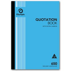 OLYMPIC CARBON QUOTATION BOOK 650 DUPLICATE 100 LEAF A4