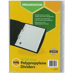 MARBIG POLYPROPYLENE INSERTABLE 10 TAB DIVIDER A4 GREY WITH INSERT TAB