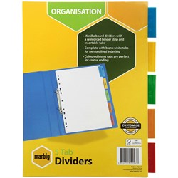 MARBIG MANILLA COLOURED TAB INSERTABLE DIVIDER 5 TAB A4 WHITE