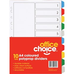 OFFICE CHOICE A4 DIVIDERS (D) 10 Coloured Tab Polypropylene *** DISCONTINUED ***