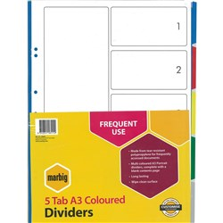 MARBIG MULTI COLOURED A3 PP DIVIDERS 5 TAB PORTRAIT