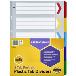 MARBIG COLOURED DIVIDERS A3 1-5 TAB BOARD PORTRAIT ASST