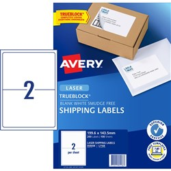 AVERY L7168 MAILING LABELS Laser 2 UP 199.6 x 143.5mm BX100