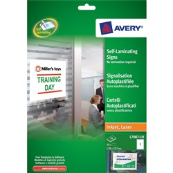 AVERY L7087 SELF ADHESIVE LAMINATING SIGNS 170X257MM