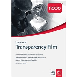 NOBO QUANTUM PROJECTOR UNIVERSAL INKJET & LASER A4 OHP FILM PK25